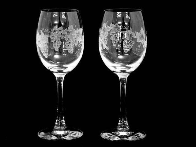 ペアぶどう柄ワイングラスの画像1枚目
