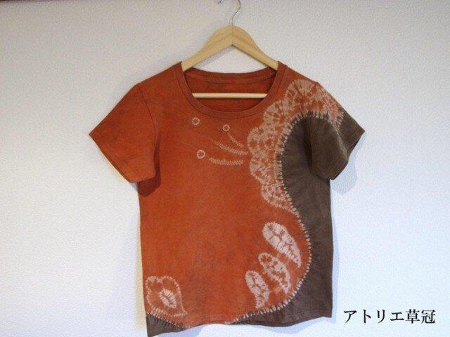 天然土顔料絞り染Tシャツ <花>の画像1枚目