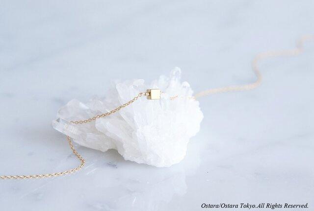 【14KGF】Necklace,Tiny Gemstone Gold Hematite diceの画像1枚目