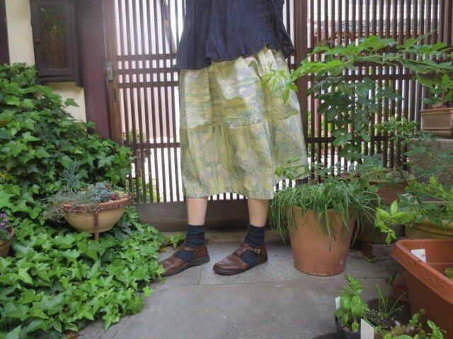 着物リメイク☆黄緑系の紬が優しいふんわり切り替えの75cm丈の画像1枚目