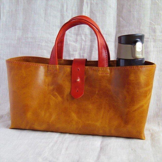 【受注生産】ラクダ革の横長トートバッグ(カーキ・Mサイズ)の画像1枚目
