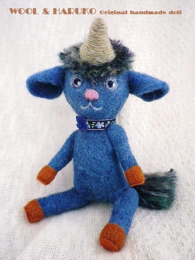 ★羊毛フェルト・ブルーの一角獣の男の子★の画像1枚目