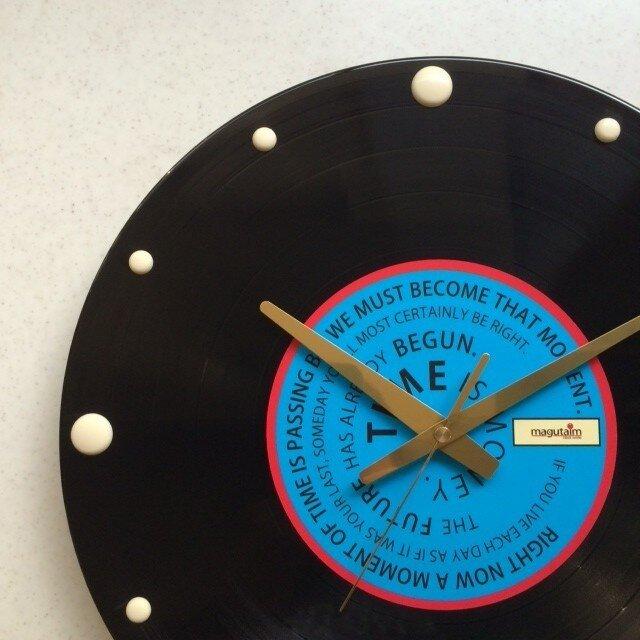 レコード盤壁掛け時計(格言・青)の画像1枚目