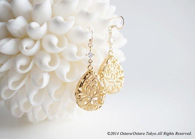 【14KGF】Earrings, Matt Gold Floral Teardrop Filigreeの画像1枚目