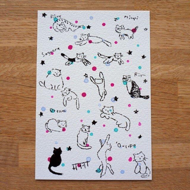 ガリ版印刷ハガキ「ネコ」の画像1枚目