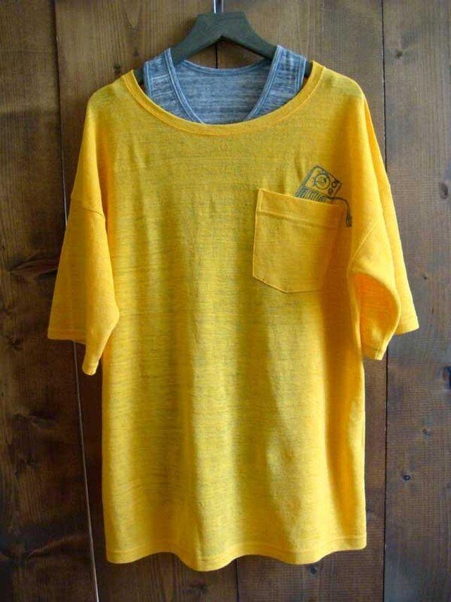 リネン 刺繍Tシャツ/イエローの画像1枚目
