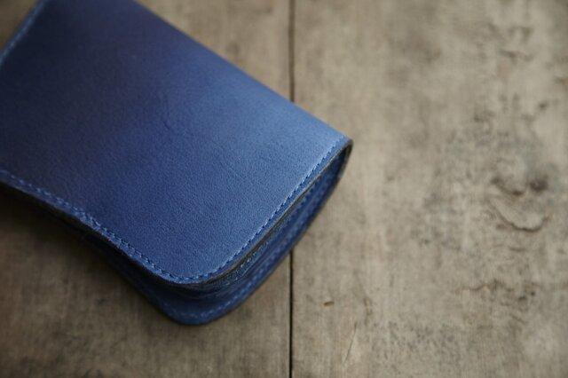 藍染め革 二つ折り財布の画像1枚目