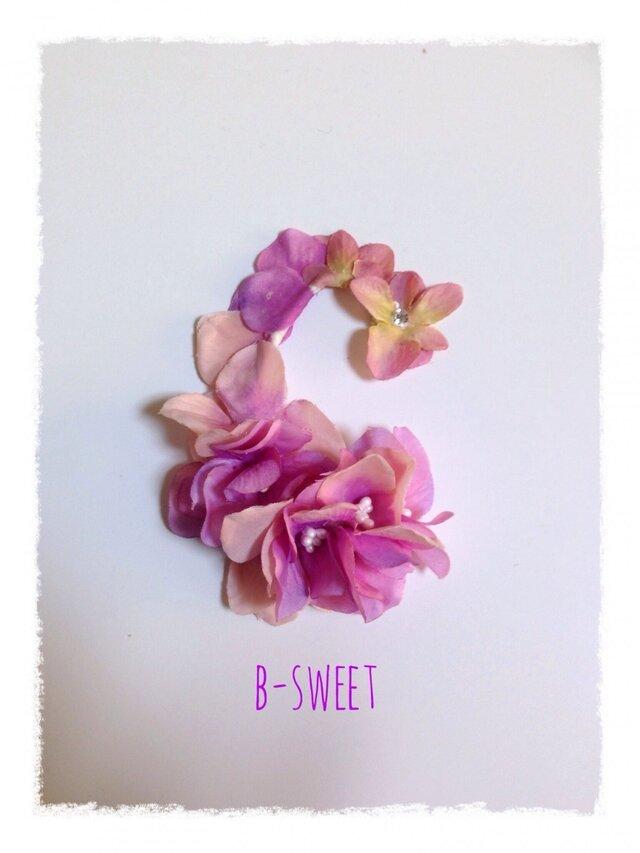 紫陽花のイヤーフックD  (ピンクパープル)右耳用の画像1枚目
