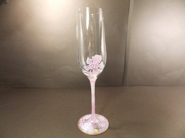 お花ふわりシャンパングラス(ピンク)の画像1枚目