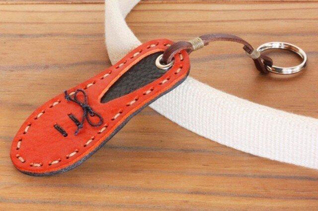 靴型のキーホルダー OR×NV #6-3 (イタリアンレザー)の画像1枚目