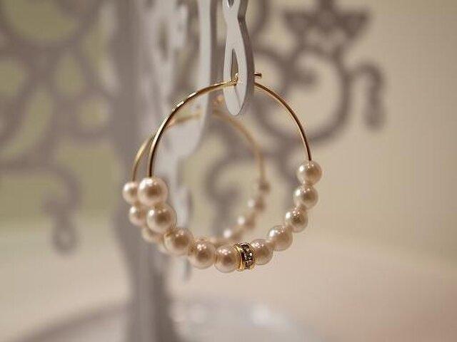 pearl and rondel hoop earringsの画像1枚目