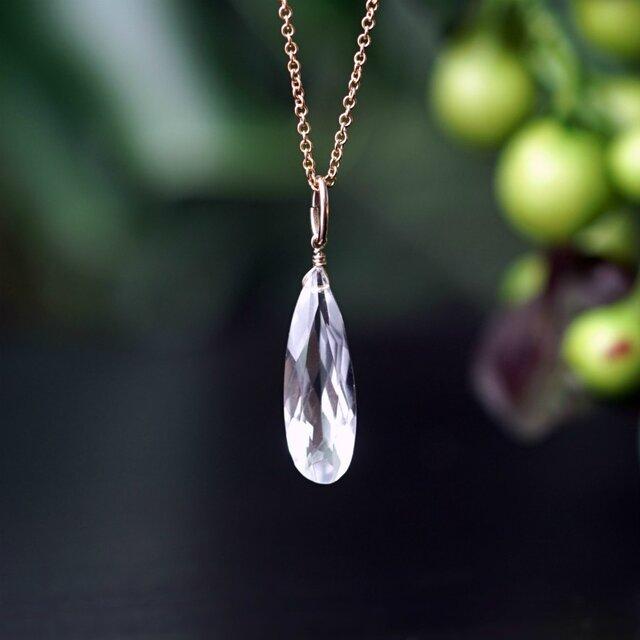 水晶のロングファセットカット50cmネックレス ~Ilsaの画像1枚目