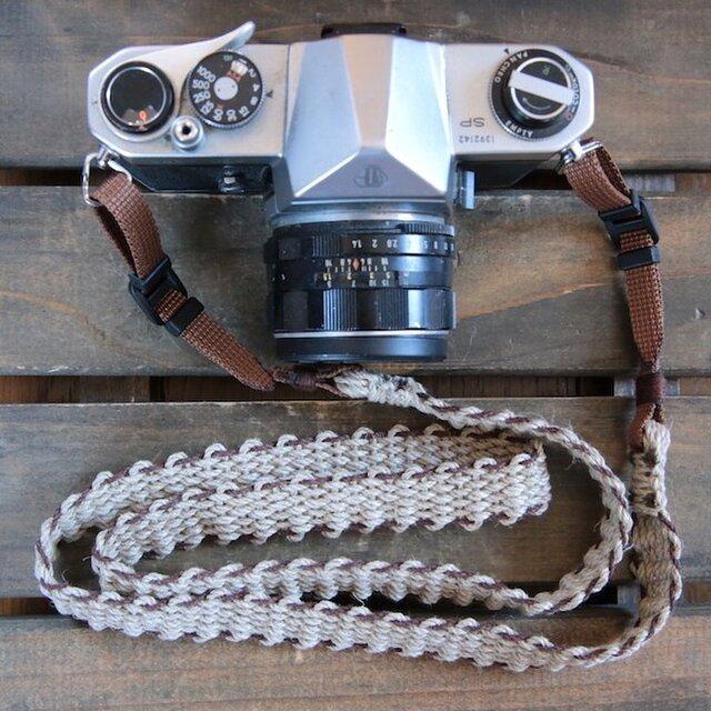 麻紐ヘンプカメラストラップBRW(2重リング)の画像1枚目