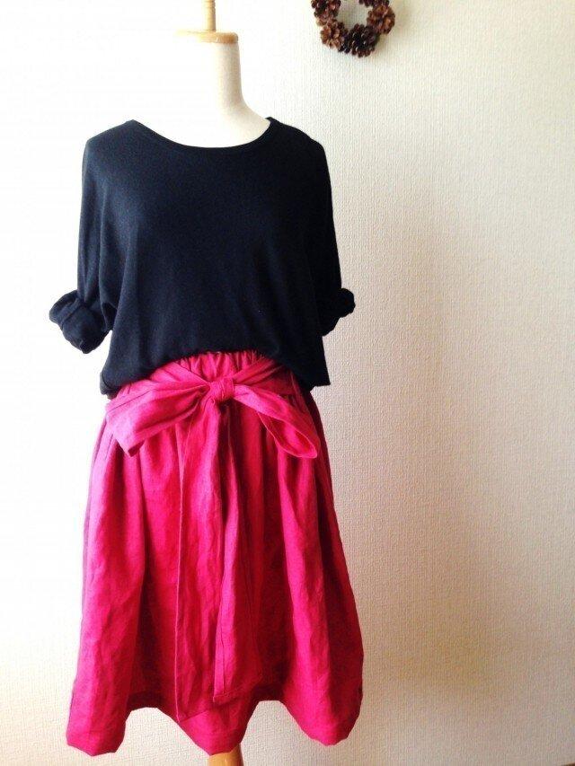 カラーリネン くったりシンプルなリボンスカートの画像1枚目