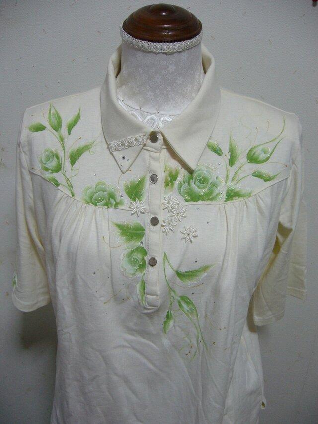 グリーンのバラのシャツの画像1枚目