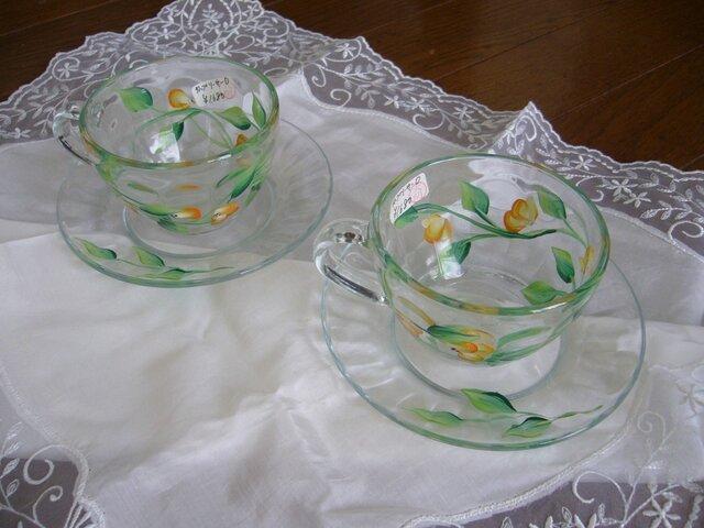 ペイント花のガラスカップの画像1枚目