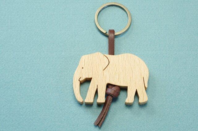 ゾウ / 象 木のキーリングの画像1枚目