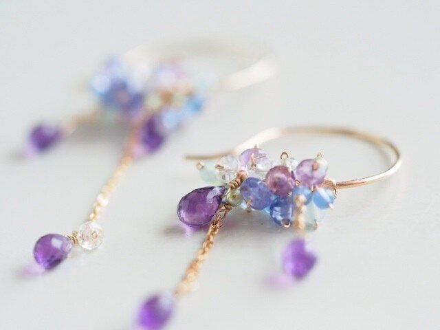 雨の雫と紫陽花ピアス~blue~の画像1枚目