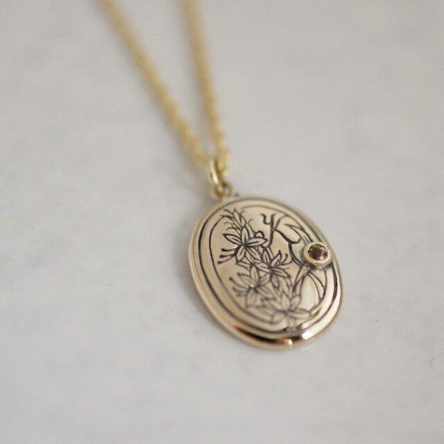 [誕生石] Gold initial pendantの画像1枚目