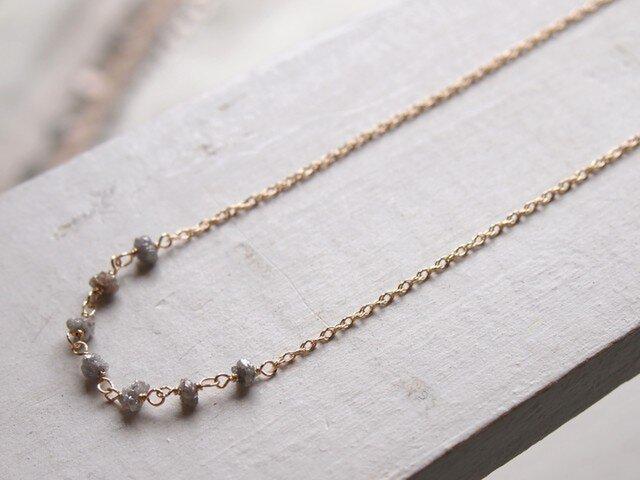 【K14GF】グレーダイヤモンドネックレスの画像1枚目