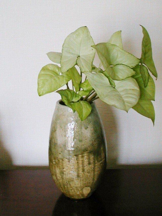 花器~灰釉花入れの画像1枚目