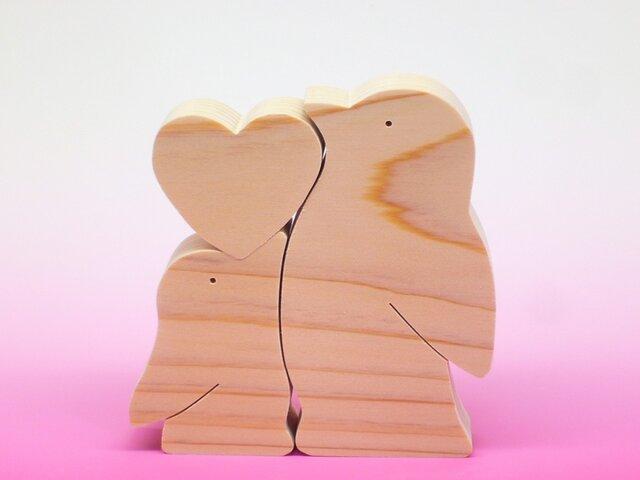 送料無料 木のおもちゃ 動物組み木 ハートペンギンの画像1枚目