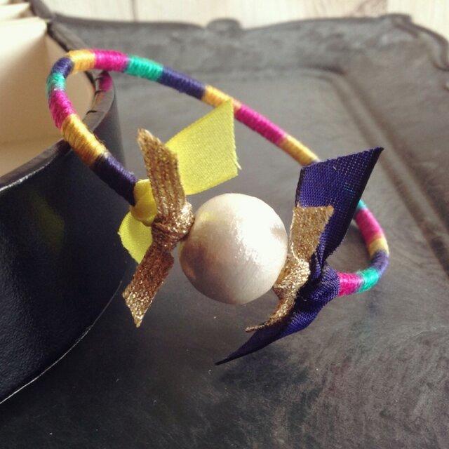 Embroidery糸とcotton pearlのバングルの画像1枚目