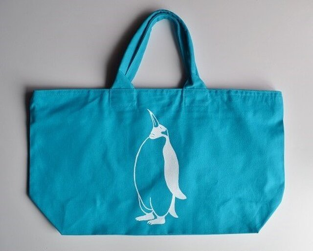 ペンギントートバッグ、ターコイズブルー、送料無料、収納力抜群の画像1枚目
