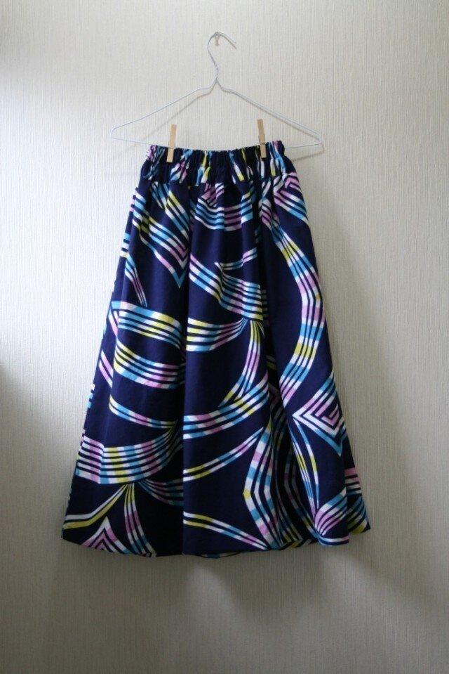 浴衣地 虹模様 ギャザーゴムスカート Fサイズの画像1枚目