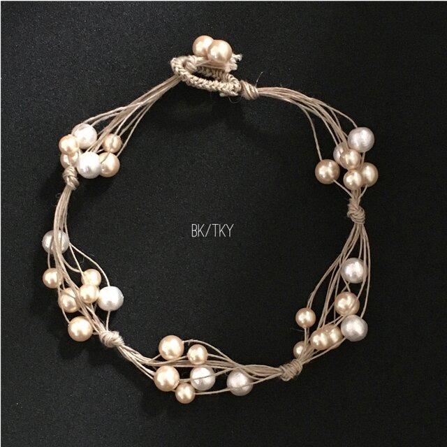 【再販】麻ひもとパールのネックレスの画像1枚目