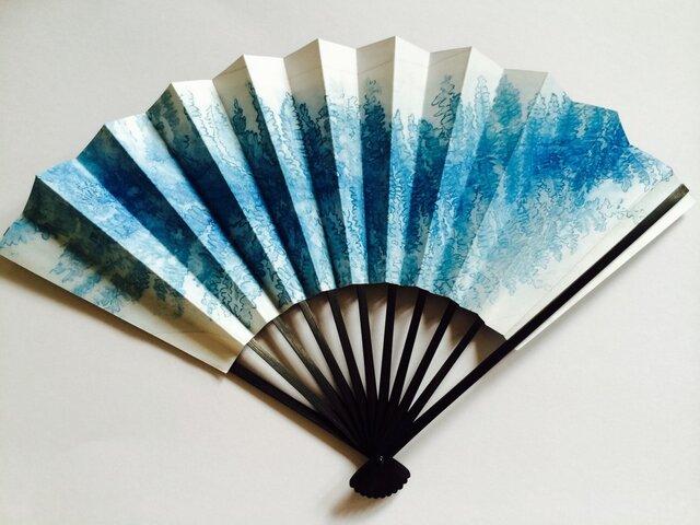 京扇子飾り用・ 青い羊歯の画像1枚目