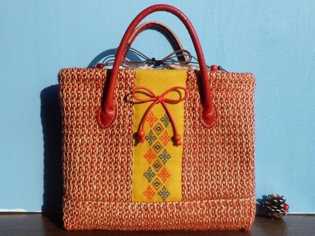 真っ赤な麻ジュートのレトロ手刺繍かごバッグの画像1枚目