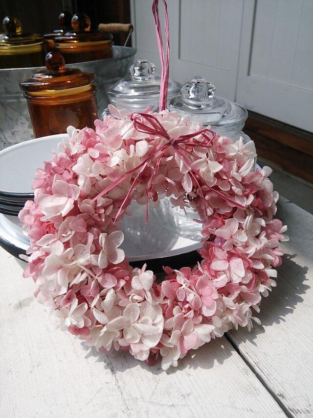 紫陽花リース  ピンクの画像1枚目