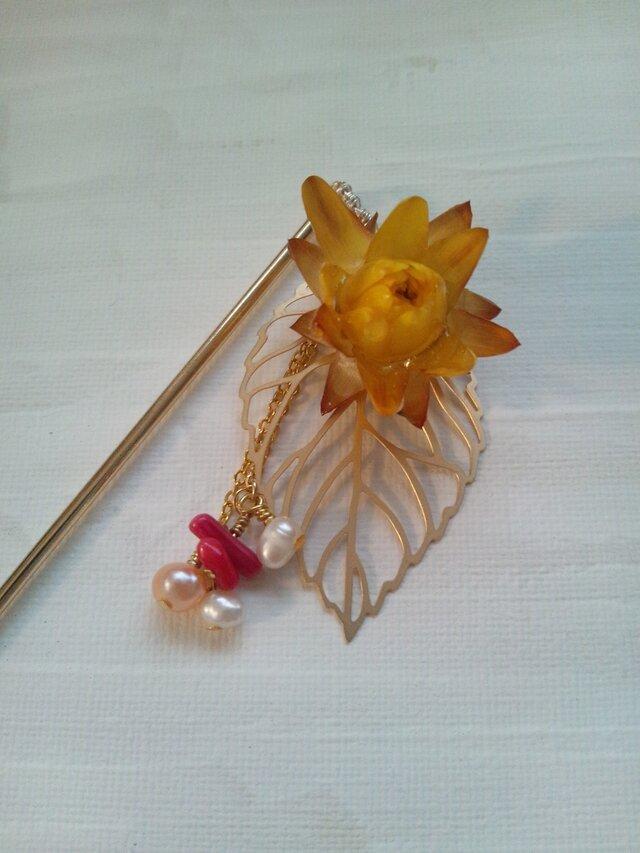 お花の髪かざり 花楽 yamabukiの画像1枚目