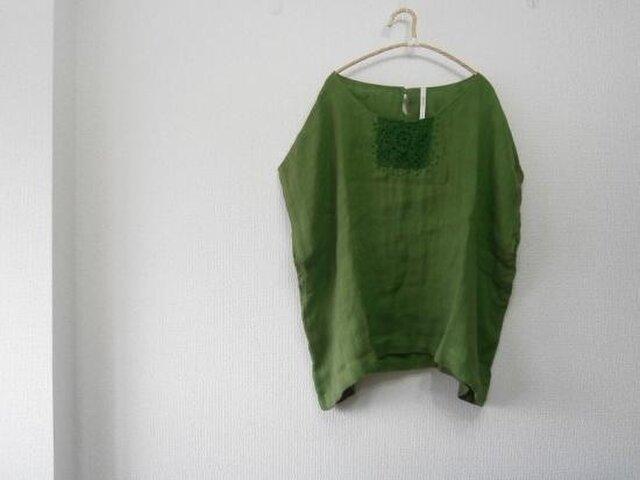 en-en鈎針手刺繍オーバーシャツ・グリーンの画像1枚目