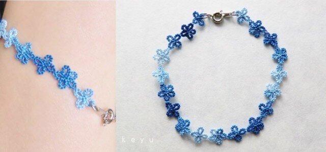小花のブレスレット(青色)の画像1枚目