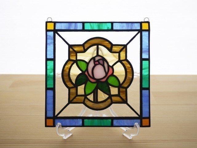 ステンドグラス ミニパネル ローズバッド 15cmの画像1枚目