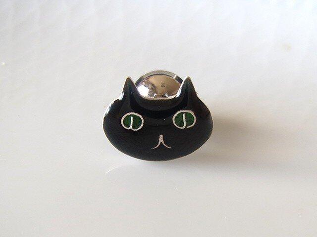 黒猫ブローチ(顔)の画像1枚目