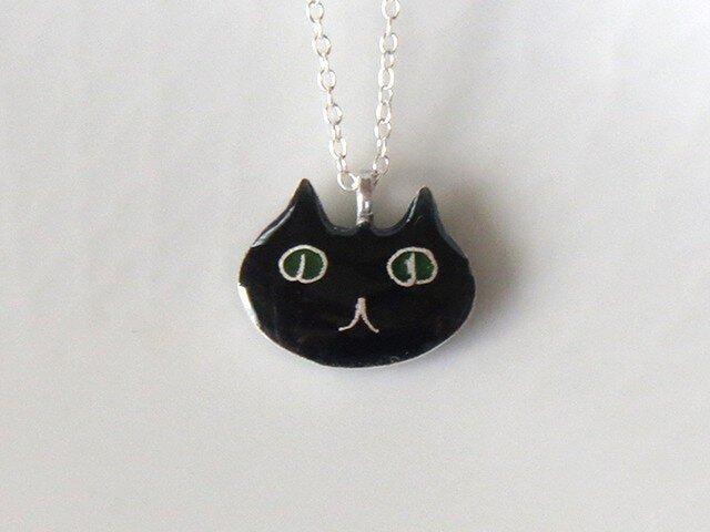 黒猫ネックレス(顔)の画像1枚目