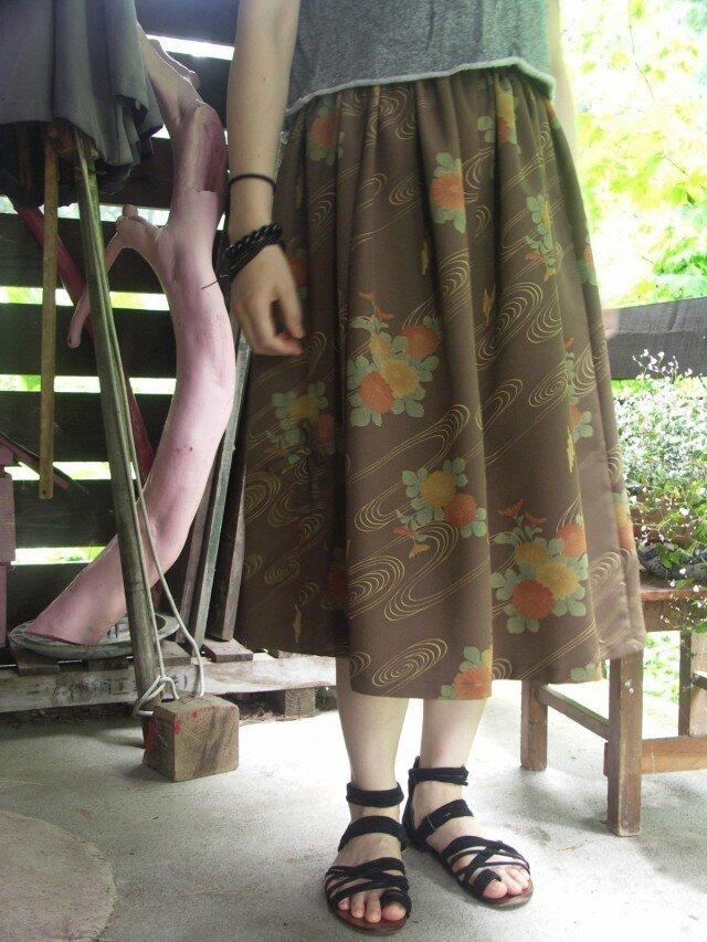 着物リメイク バルーン風 ロングギャザースカートの画像1枚目