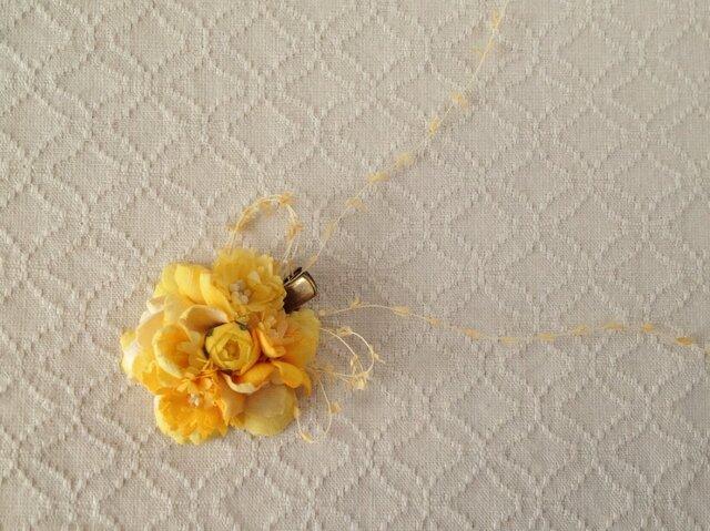 染め花のミニクリップ(イエロー)の画像1枚目