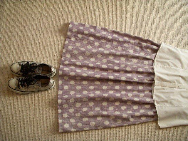 セール!みずたまの久留米絣のスカート(藤色)の画像1枚目