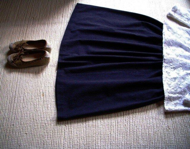 セール!細い縦縞の久留米絣のスカートの画像1枚目