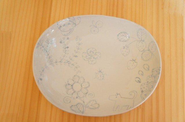 ブルー象嵌オーバル皿の画像1枚目