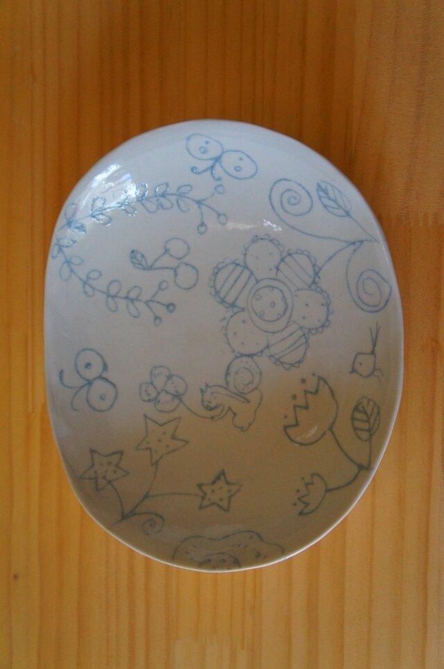 ブルー象嵌オーバル皿 中の画像1枚目