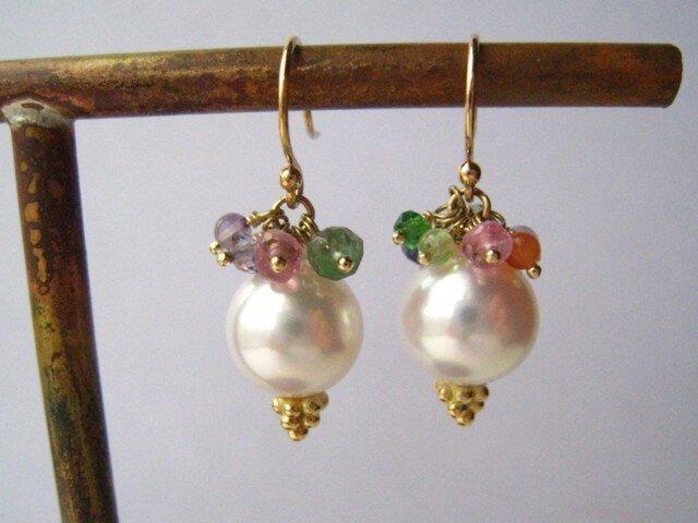 K18  Pearl colorful  ピアスの画像1枚目