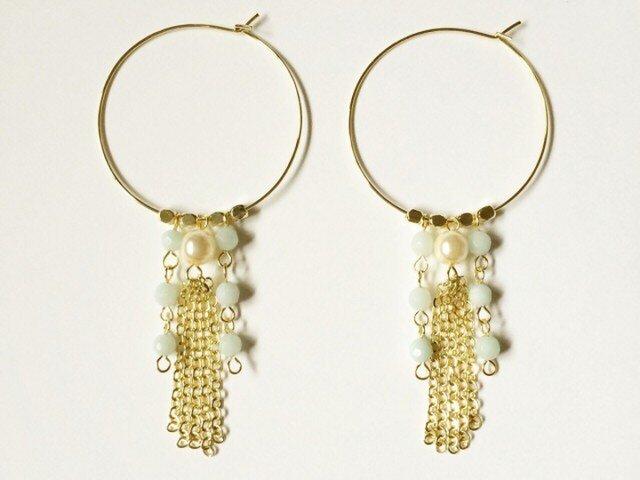 Chain tassel hoop earringsの画像1枚目