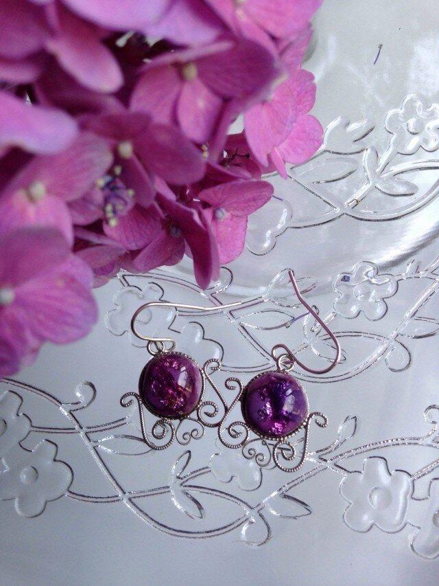 七宝焼ピアス   紫の画像1枚目