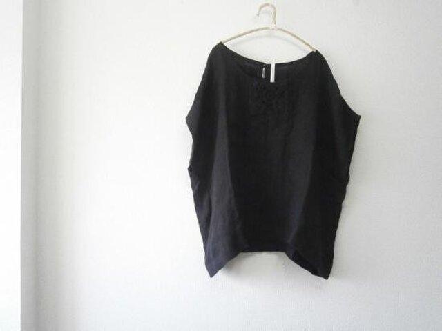 en‐en鈎針手刺繍オーバーシャツ・ブラックの画像1枚目