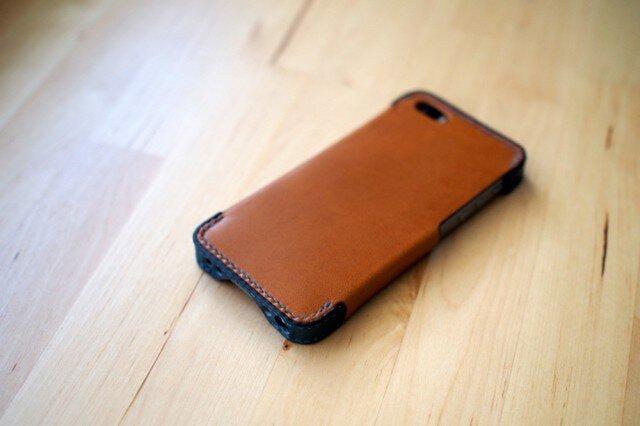 iPhone5s/5 レザーケース(ブラウン×ブルー)の画像1枚目